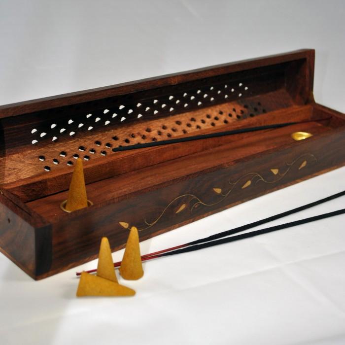 scatola di incenso in legno bruciatore di incenso