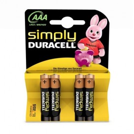 4 Duracell Simply AAA LR03 batteries