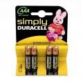 4 Baterías Duracell Simply AAA LR03