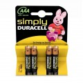 4 Baterias Duracell Simplesmente AAA LR03